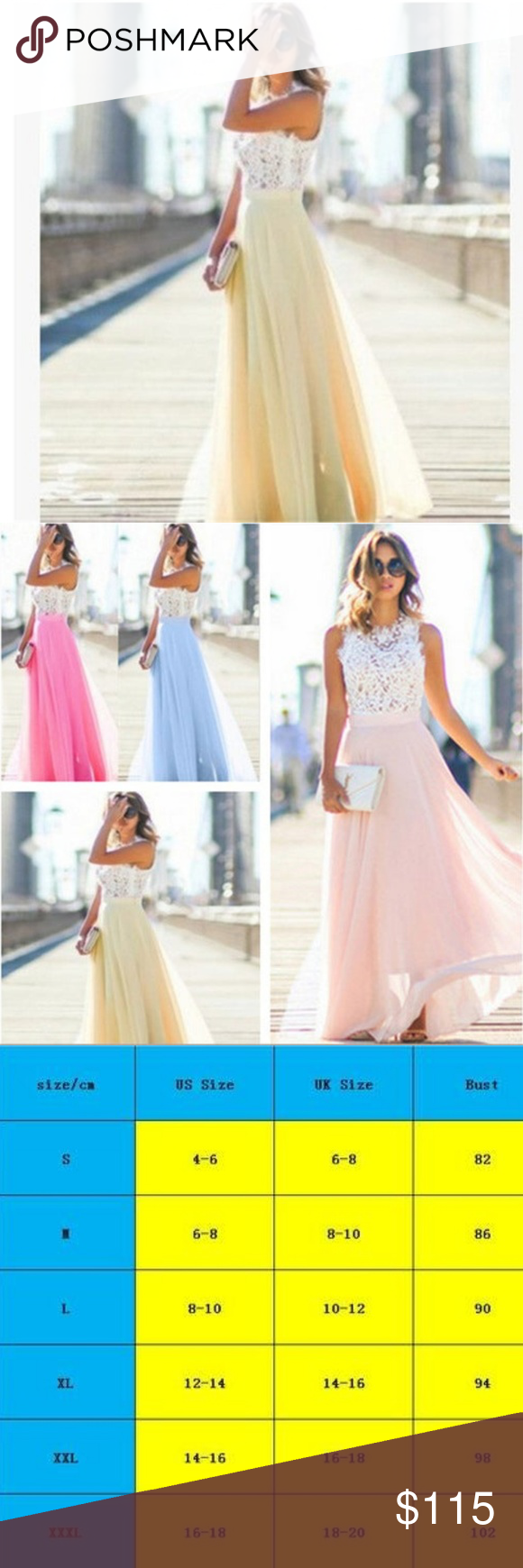 Elegant Crochet Lace Chiffon Sleeveless Maxi Dress