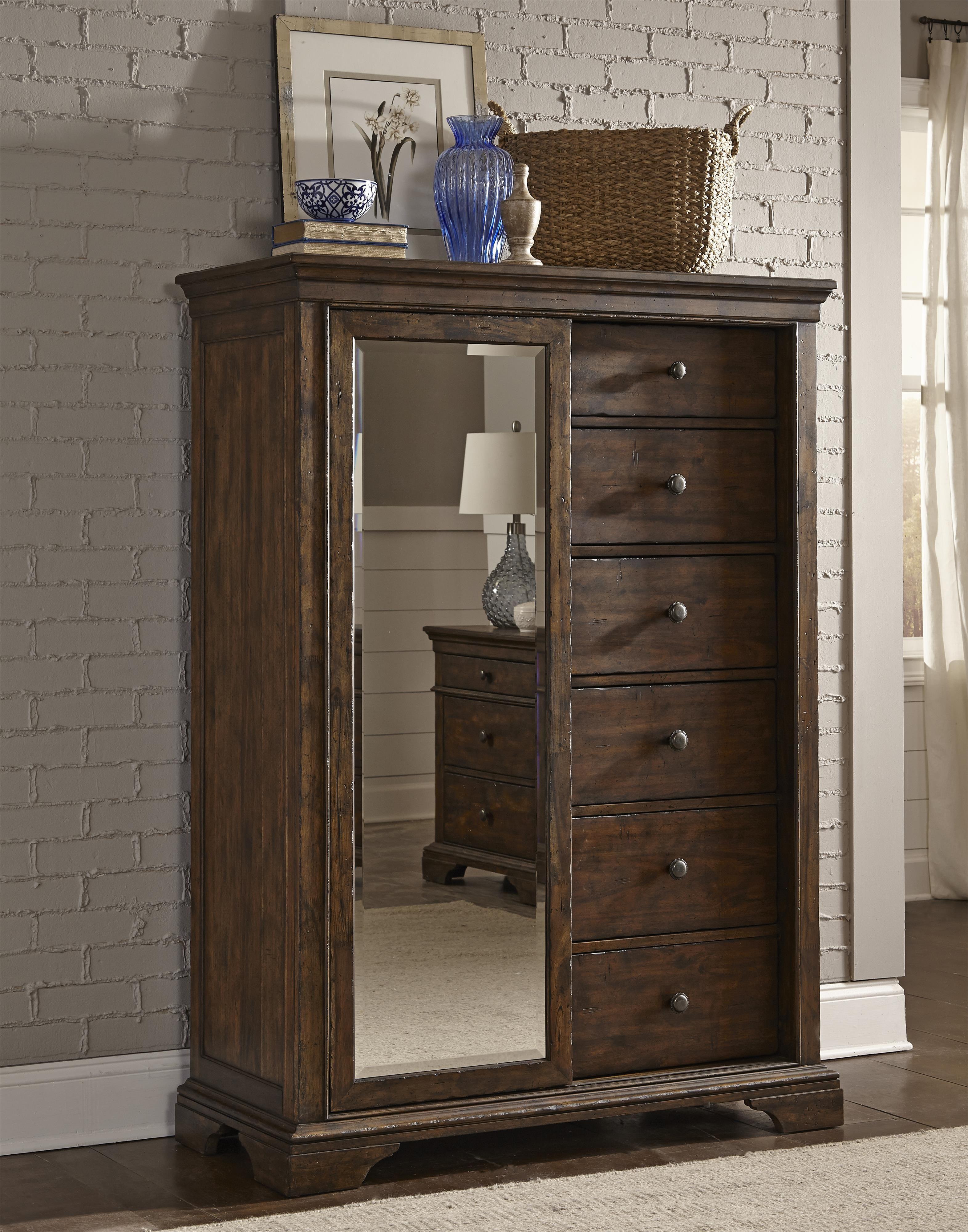 Trisha Yearwood Home Tulsa Sliding Door Chest With Mirror By Trisha Yearwood Home Collection By
