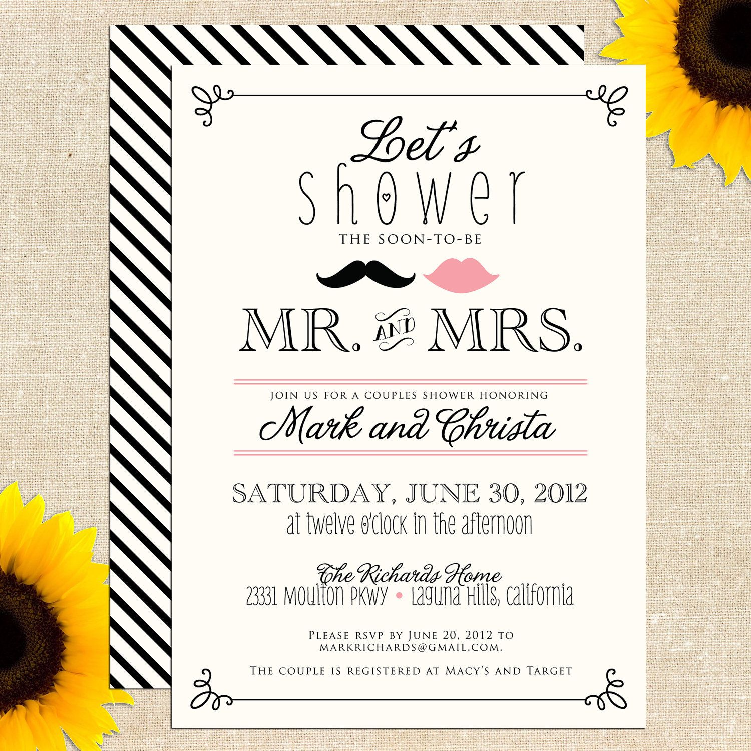 Vintage Mr And Mrs Couples Shower Invitation DIY PRINTABLE - Couples wedding shower invitations templates free