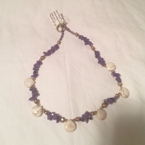 Amethyst white turquoise necklace Beautiful amethyst white turquoise pearls and crystals necklace. Jewelry Necklaces