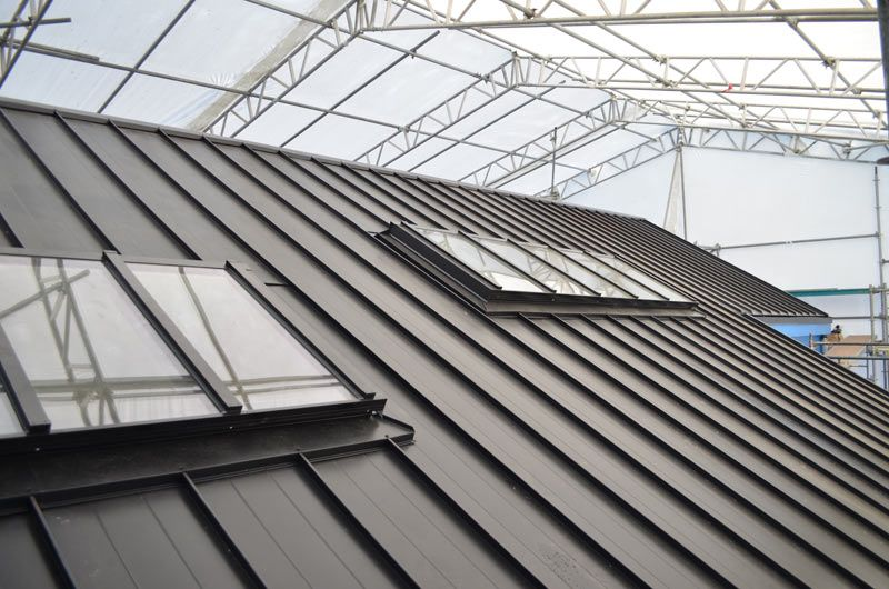 Skylights Over Metal Standing Seam Roof Roof Construction Standing Seam Roof Coating