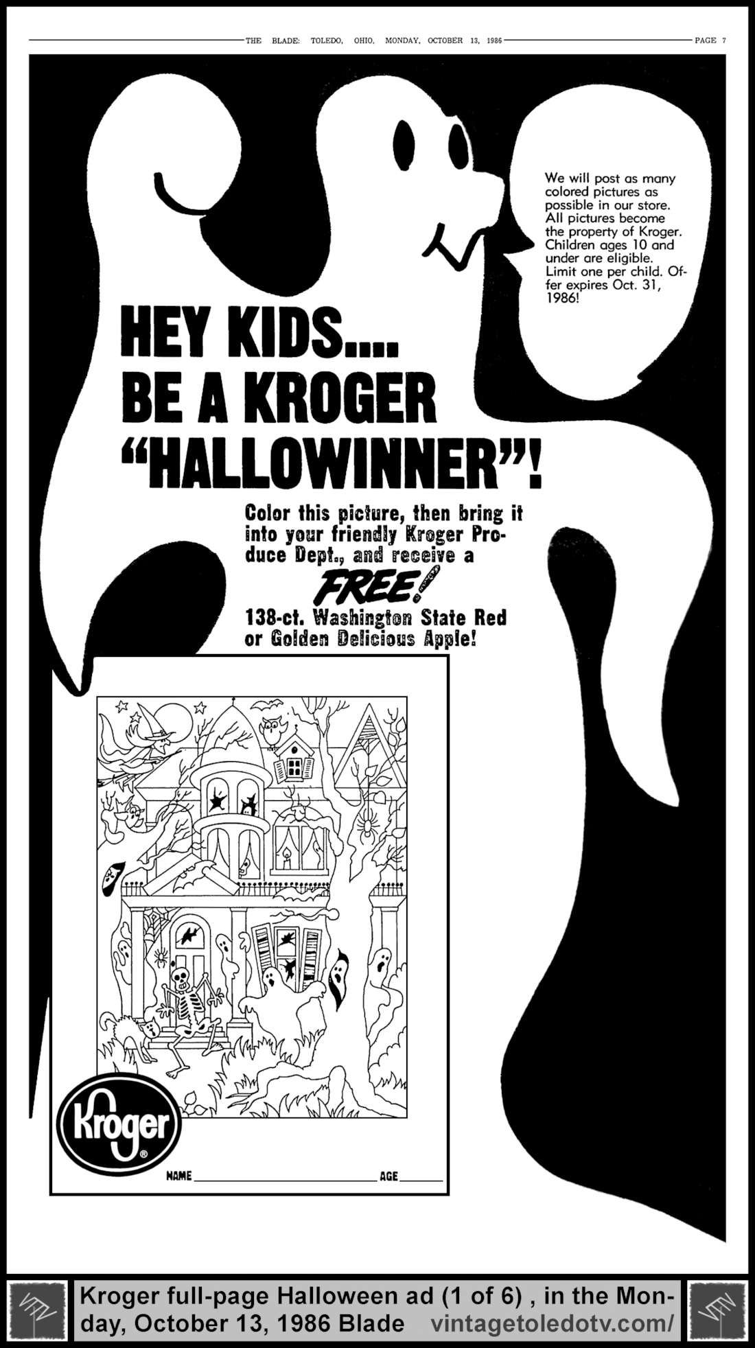 Vintage Toledo TV - Halloween Ads - Hey Kids...Be a Kroger ...