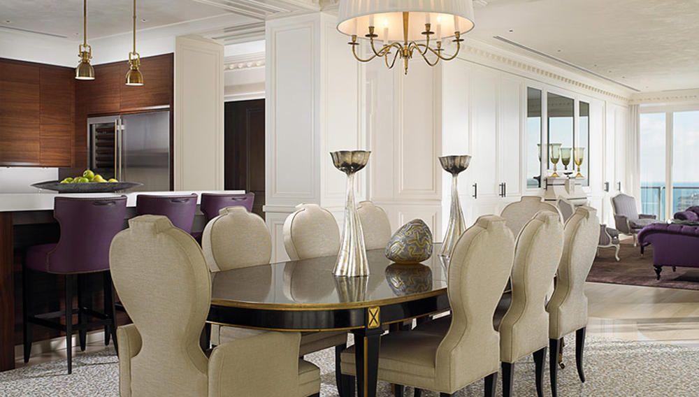 Formal white dinning rooms and sculptured dining chairs create an elegant formal dining - Elegant formal dining room sets ideas ...