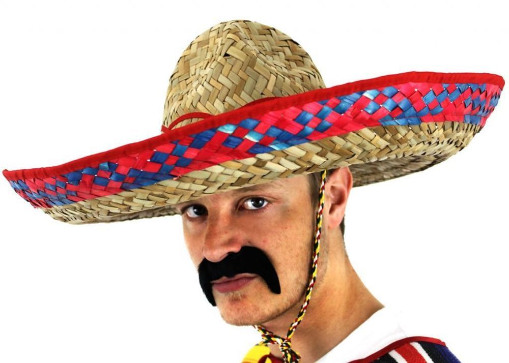 LARGE MEXICAN SOMBRERO HAT WILD WESTERN BANDIT FANCY DRESS COSTUME  ACCESSORY in Clothes b39911e6155f