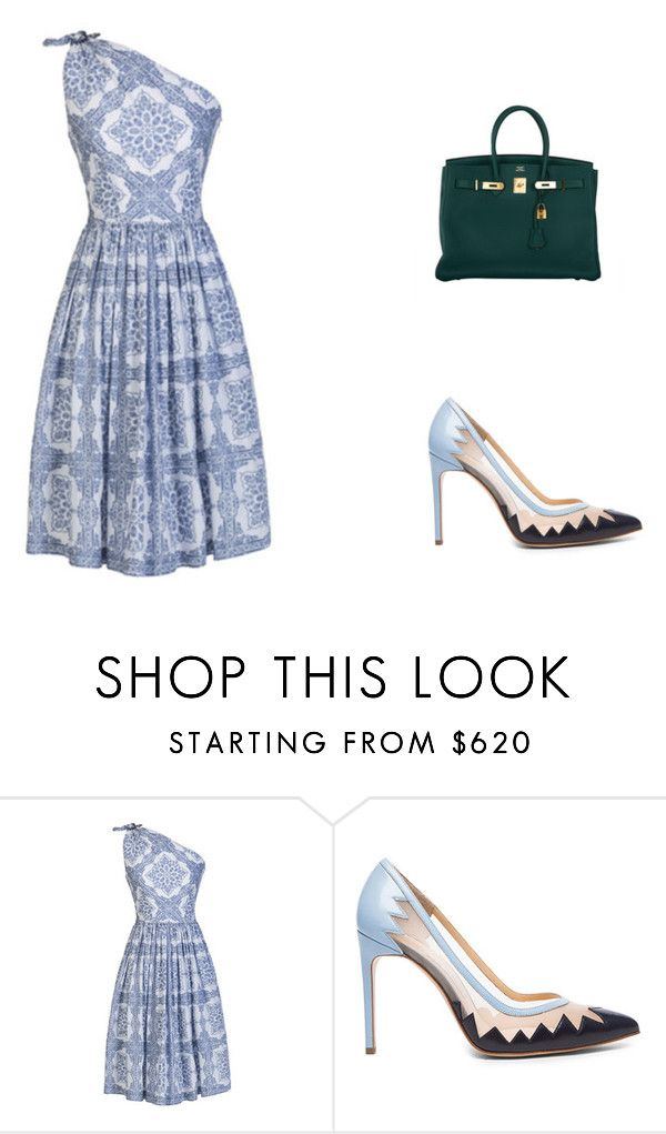 """house"" by hanii-omachiss ❤ liked on Polyvore featuring Lena Hoschek, Bionda Castana and Hermès"
