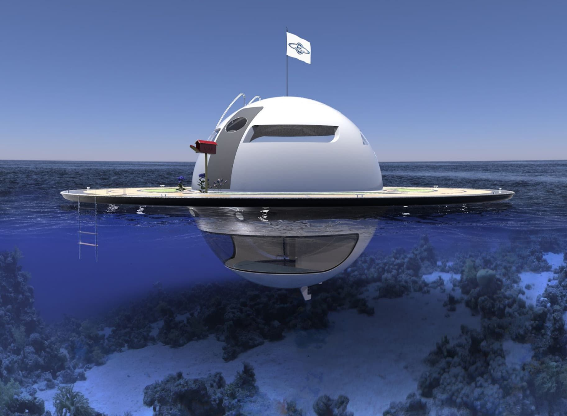The UFO floating home concept from mini yacht maker Jet Capsule