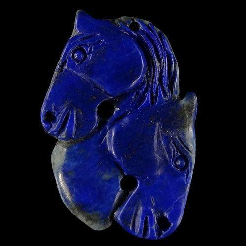 BE10310# Stunning Natural Hand Carved Horse Head animal art  Lapis lazuli   Pendant Bead 1 Pcs Gemstone
