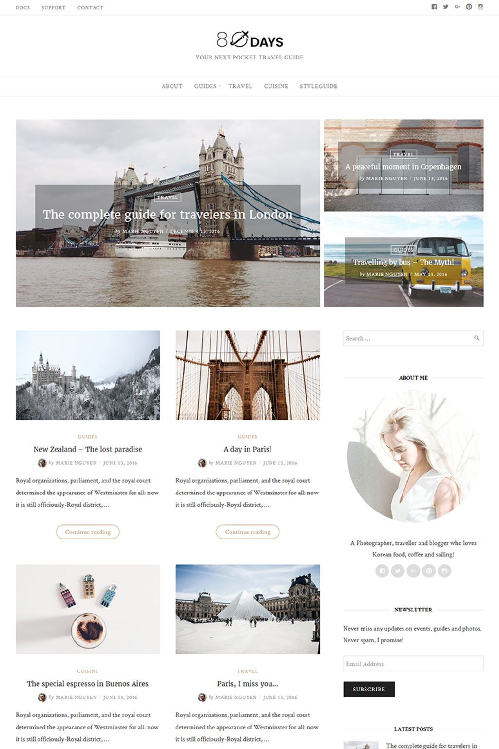 EightyDays - Travel Blog Responsive WordPress Theme Big Screenshot ...