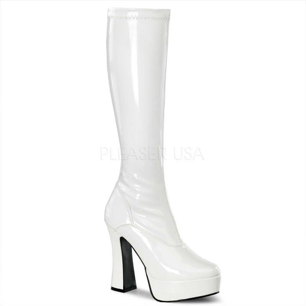 White Platform 60s 70s Hippie Disco Go Go Dancer Costume Boots