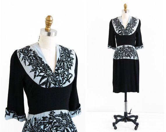vintage 1930s dress / 30s dress / Black and Slate by RococoVintage, $324.00