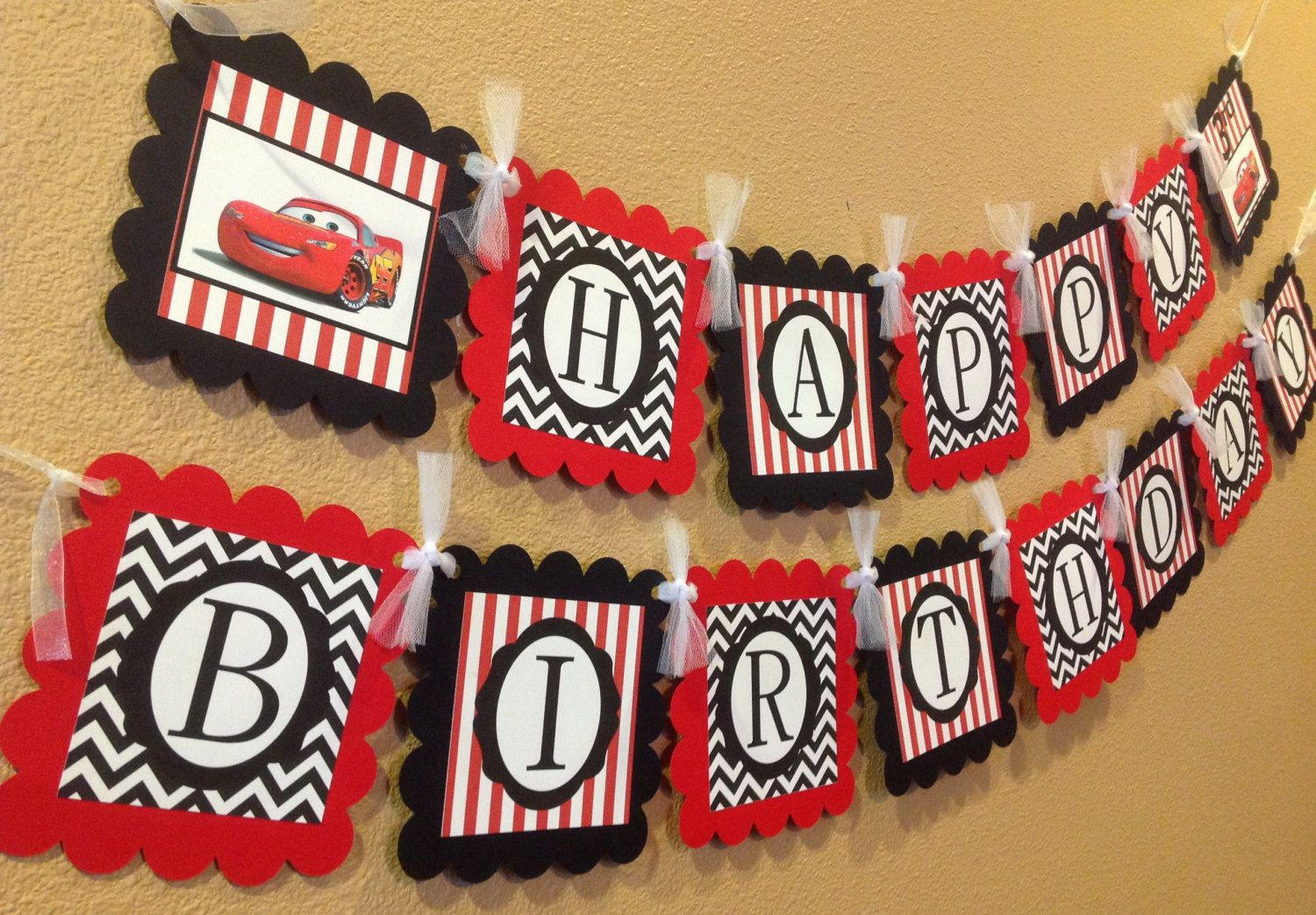 Cars Inspired Disney Happy Birthday Banner Black Chevron Red