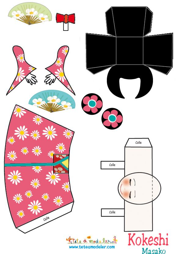 activite kokeshi en papier coller d couvrir le. Black Bedroom Furniture Sets. Home Design Ideas