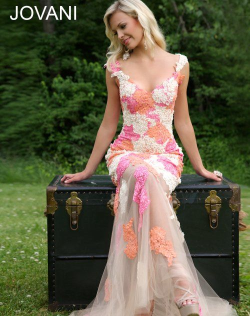 Romantic long lace prom dress 2015 by Jovani with cream-orange ...