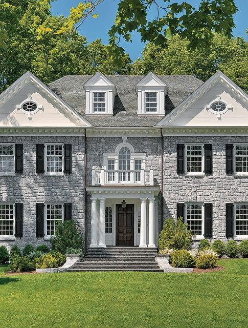 Grey Stone White Trim Black Shutters This Is Our