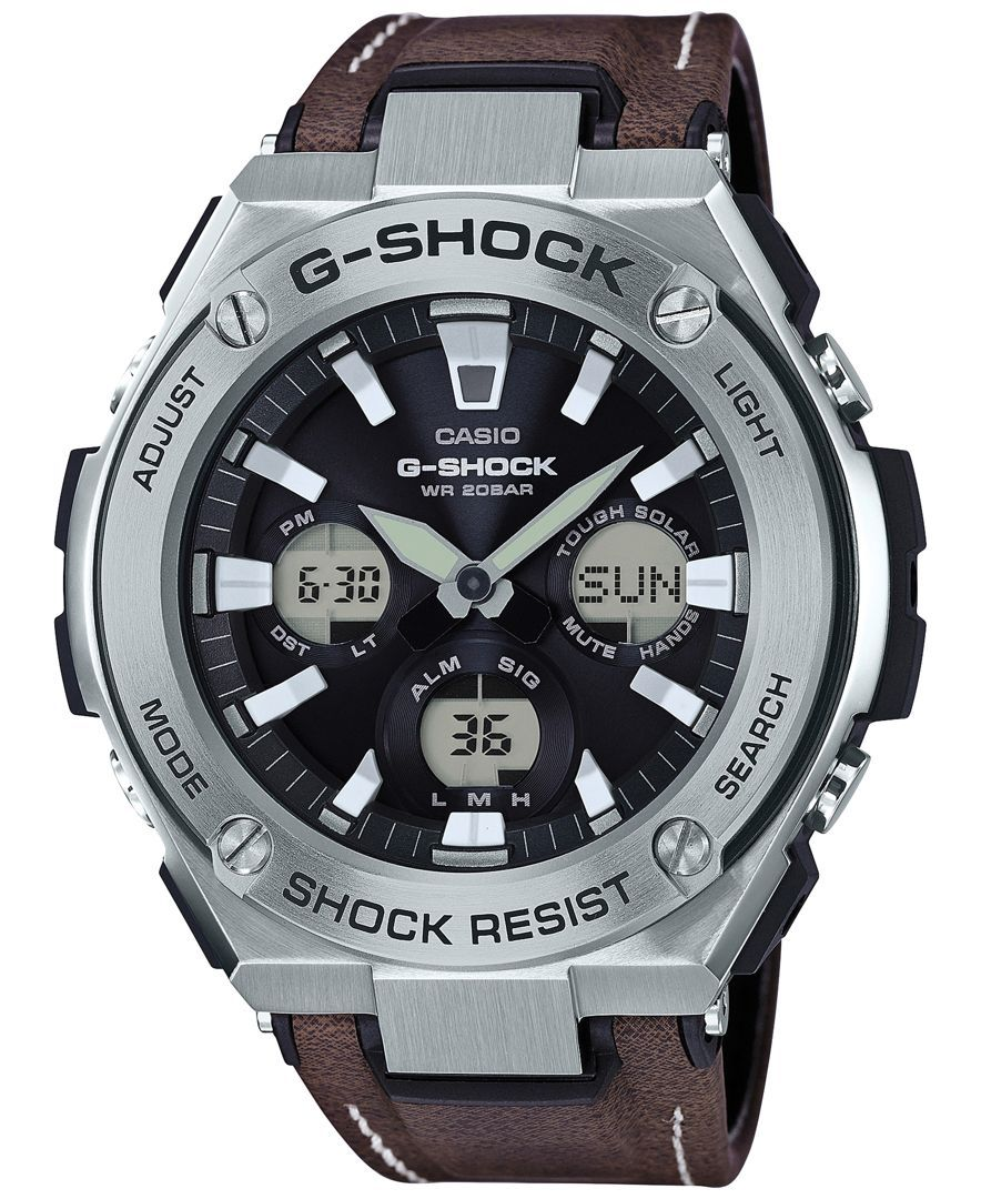 6ec2e177201 G-Shock Men s Solar Analog-Digital Brown Faux Leather Strap Watch 59mm  GSTS130L-1A