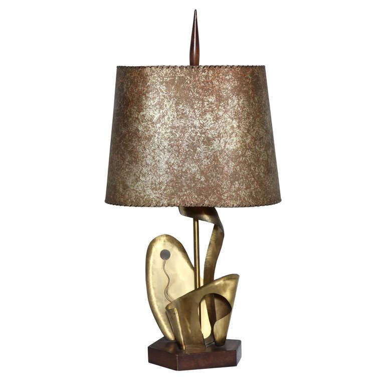Yasha Heifetz Table Lamp 1930 Botanical Parchment Shade American Abstract Brass Wood Brass Table Lamps Table Lamp Table Lamp Wood