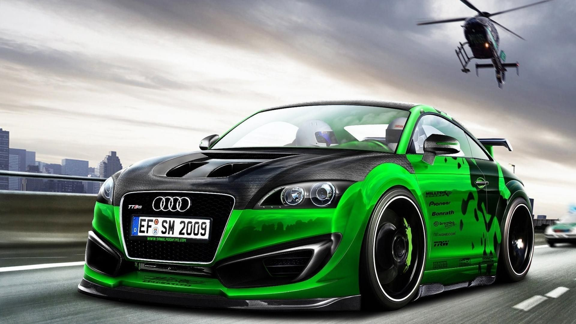 green cars tuning audi tt rs 3d 1920x1080 1920 1080 coches pinterest. Black Bedroom Furniture Sets. Home Design Ideas