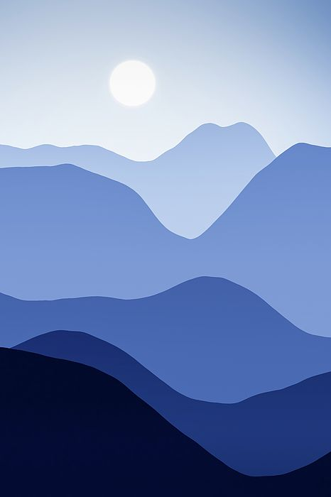 Blue Mountain Landscape Abstract Minimalism by Matthias Hauser