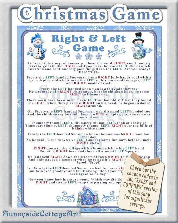 Right And Left Story Game Frosty The Snowman Winter Or