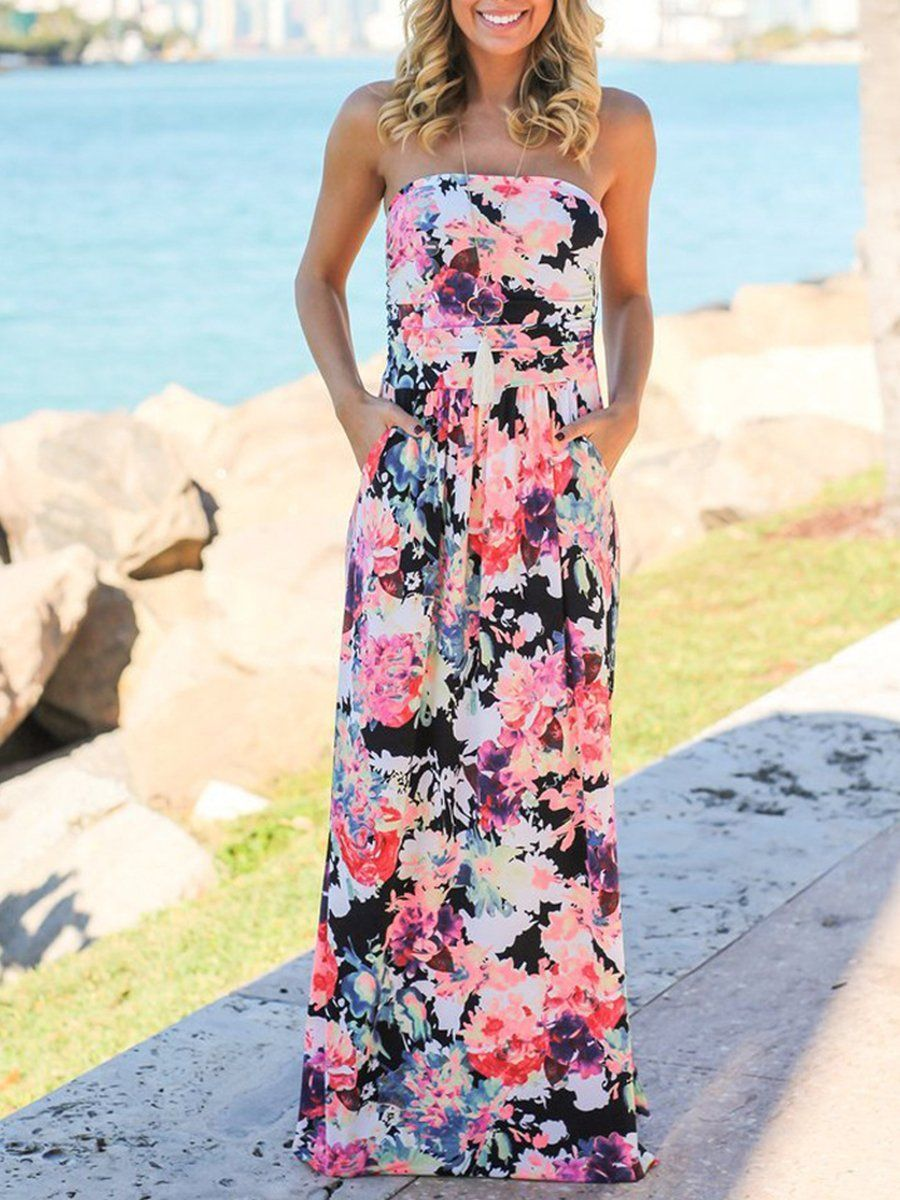 Strapless Floral Printed Maxi Dress Red Lace Maxi Dress Beach Maxi Dress Boho Summer Tube Dress [ 1200 x 900 Pixel ]