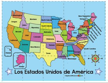 Us Map With Compass Rose Spanish. Compass rose, US map puzzle. | Compass rose, Map puzzle
