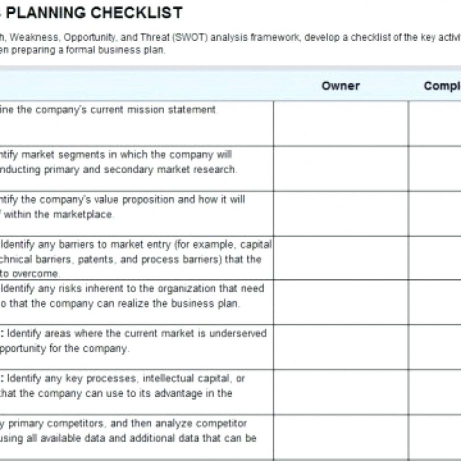 Printable Checklist Template Samples Business Continuity