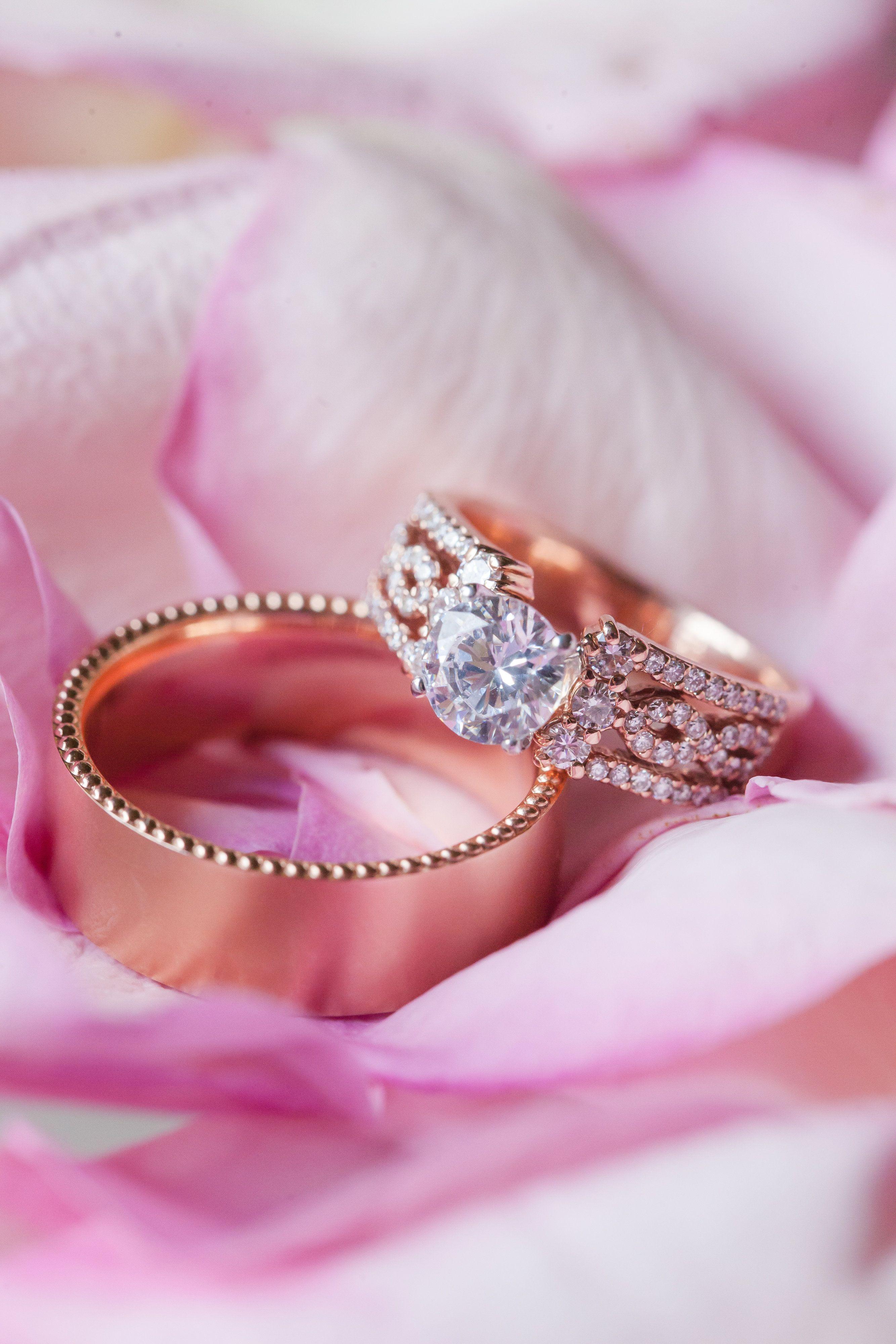 Rose Gold Wedding Rings- Blush Wedding- Lovely Ring Shot- Charlotte ...