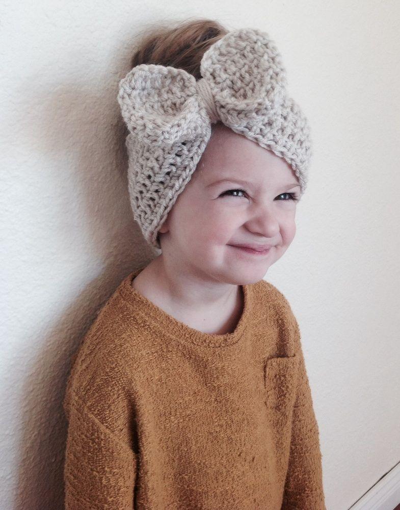 Crochet Bow Headwrap - Bone / Lili Belle Boutique | GORRAS Y ...