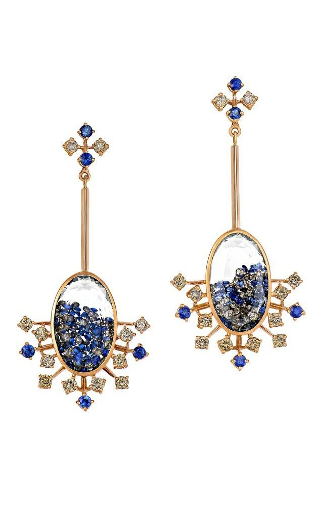 Blue sapphires and diamonds mix together with white sapphires in these rose gold earrings by Moritz Glik