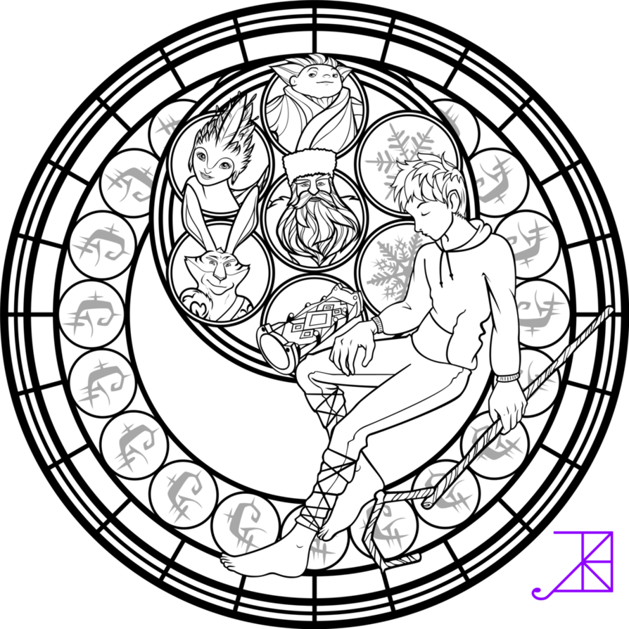 Jack Frost Stained Glass Coloring Page by Akili-Amethyst on ...
