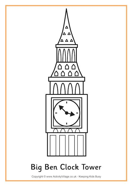 Big Ben Colouring Page 2 Avec Images Dessin Angleterre