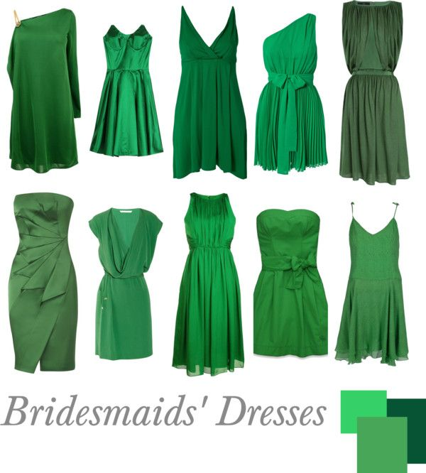 """""""Bridesmaids' Dresses   Emerald Short"""" by pinkrubbersoul on Polyvore"""