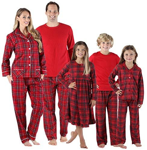 New SleepytimePjs SleepytimePJs Holiday Family Matching Red Plaid Flannel  Thermal Pajamas PJs Sets for the Family Women s Fashion Clothing online. 7b486cb74