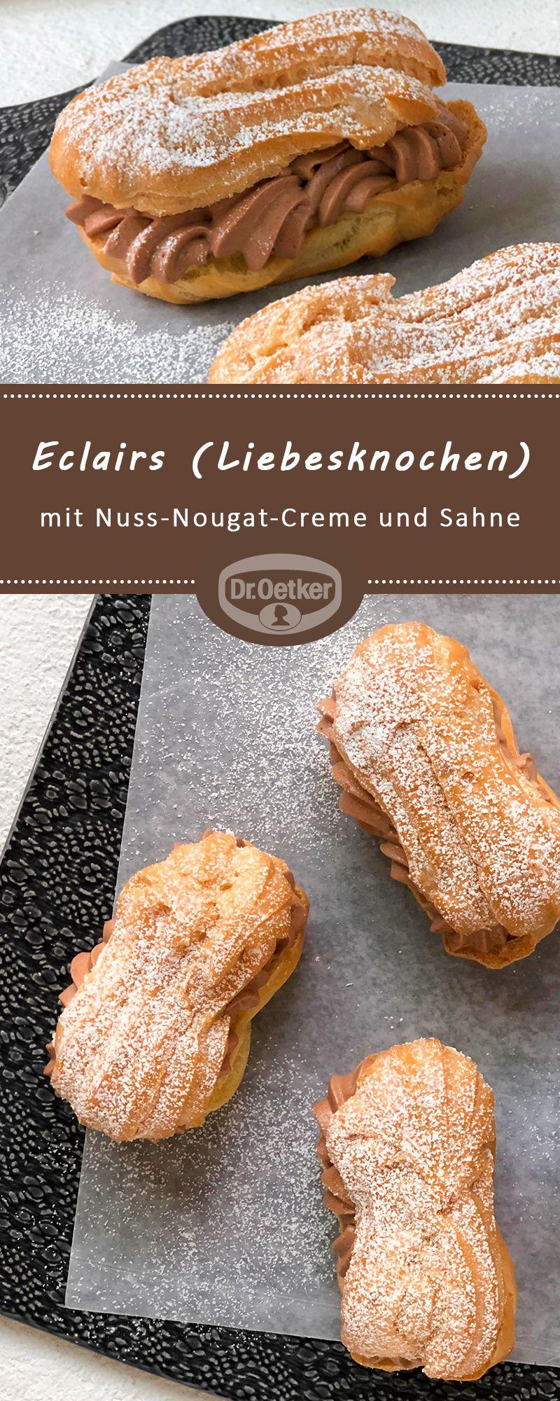 Eclairs (Liebesknochen): Gebäck aus Brandteig mit Nuss-Nougat-Creme und Sahne gefüllt #selberbacken #kaffeetafel #healthymarshmallows