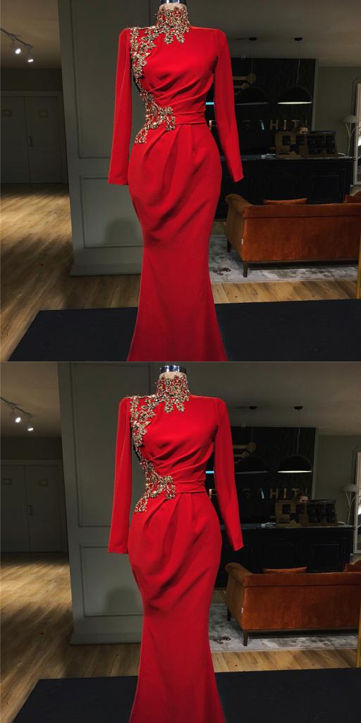 Abendkleid Rot Lang Günstig   Abendkleider mit Ärmel ...