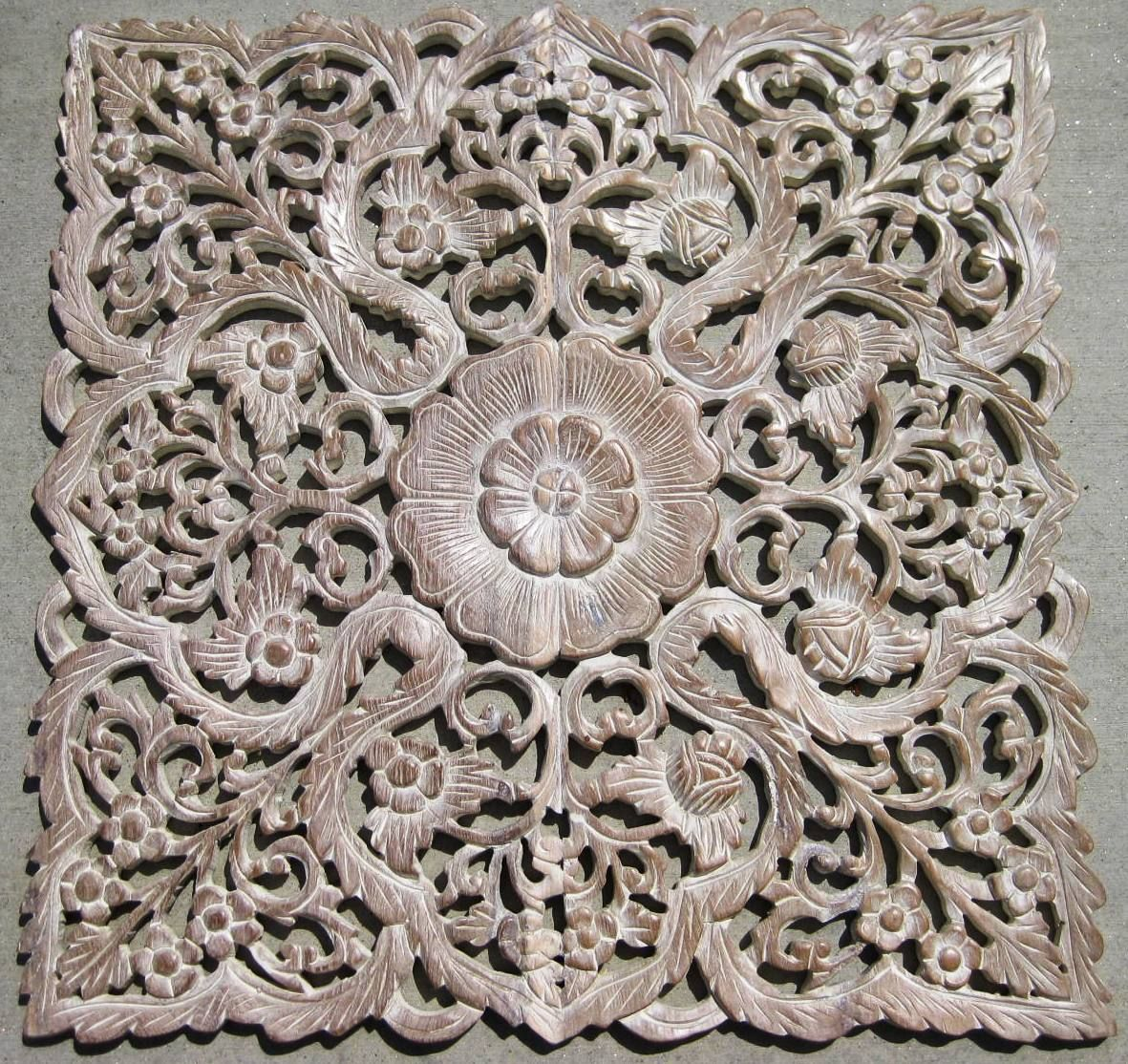 Hand carved Teak Wood Panel from Thailand. Intricately hand carved with  floral details - Hand Carved Teak Wood Panel From Thailand. Intricately Hand Carved