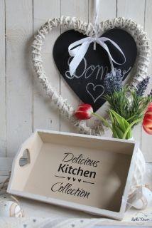 Drevený podnos Delicious Kitchen,cappuccino