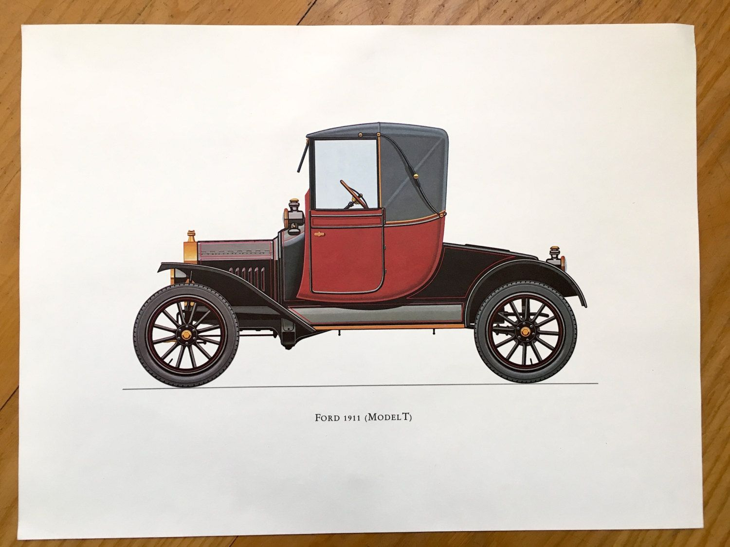 Veteran Car Print Ford 1911 Model T Original Vintage
