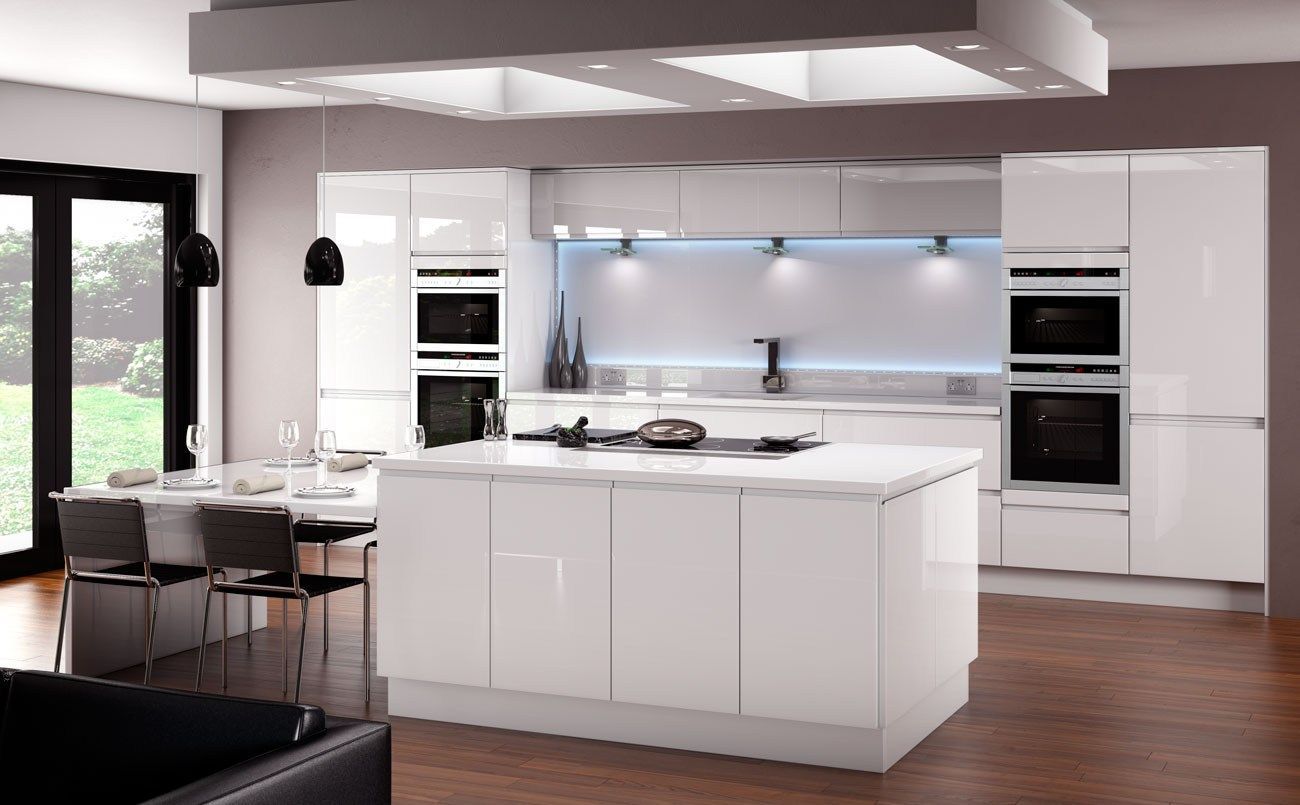 Horizon gloss white kitchen fitted traditional kitchens for White gloss tall kitchen units