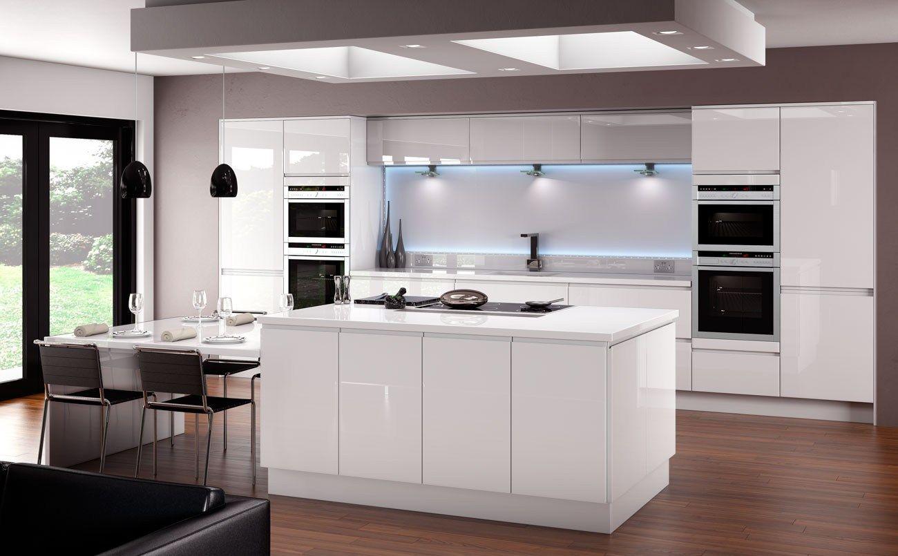 Horizon Gloss White Kitchen Fitted Traditional Kitchens