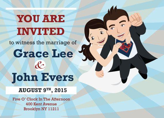 Flying Superhero Wedding Invitation Custom Cartoon
