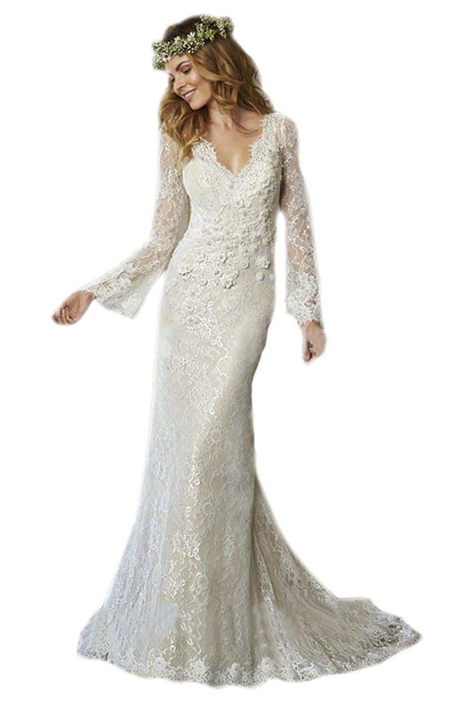 Linglingding wedding dresses v neck lace long sleeve full length