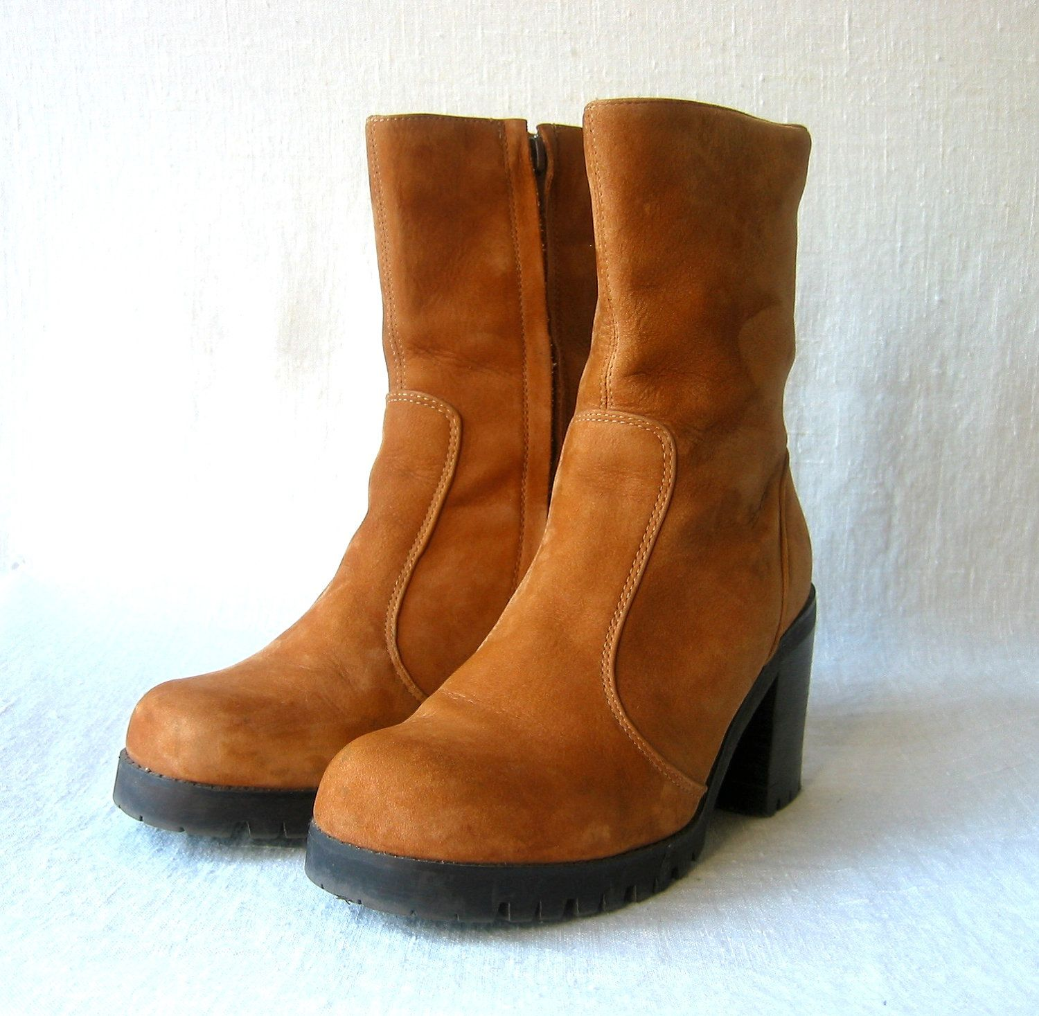 vintage boots blonde suede   GazeboTree on Etsy