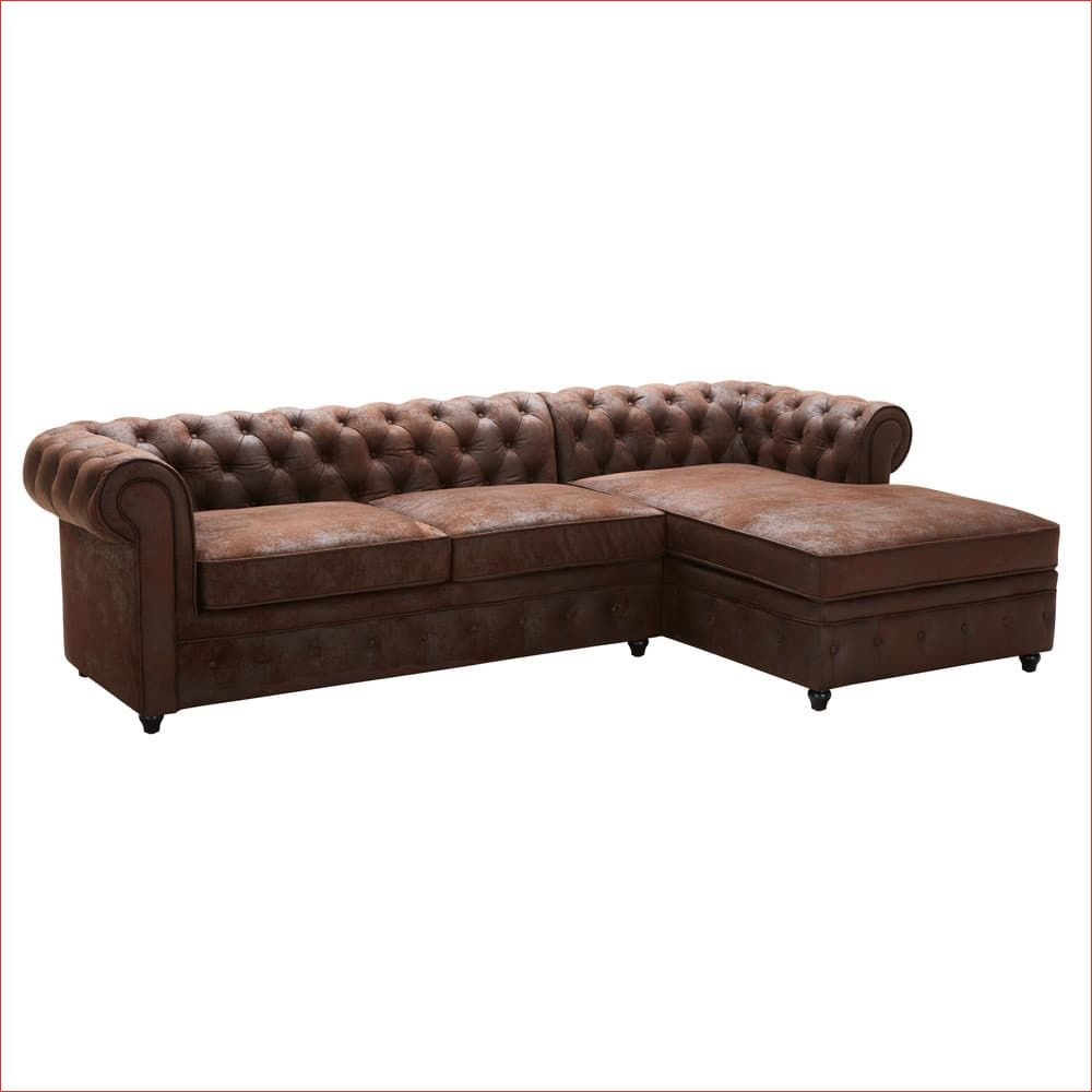 Canape D Angle Droit 5 Places En Suedine Marron Chesterfield Di 2020