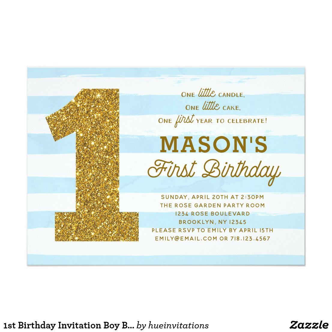 1st Birthday Invitation Boy Baby Blue Stripes Gold in 2018 | { Happy ...