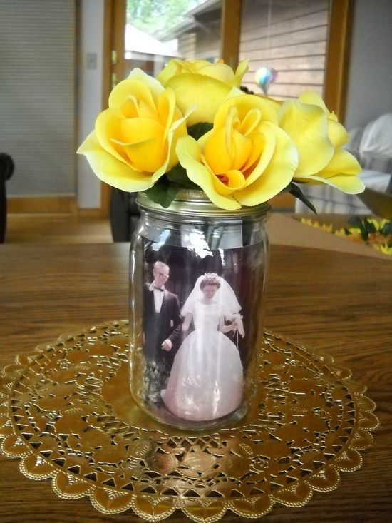 My Grandparents Wedding Anniversary Table Centerpieces Mason Jar With Photos From The Past Inserted Inside Of Topped Silk Flowers