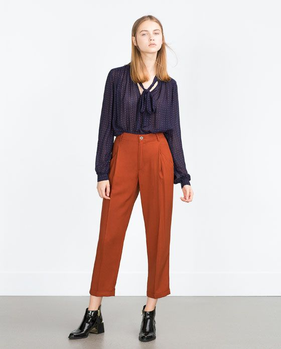 41ef31e9 Image 1 of FLOWING TROUSERS WITH PLEAT from Zara | Fall/Winter 15 in ...