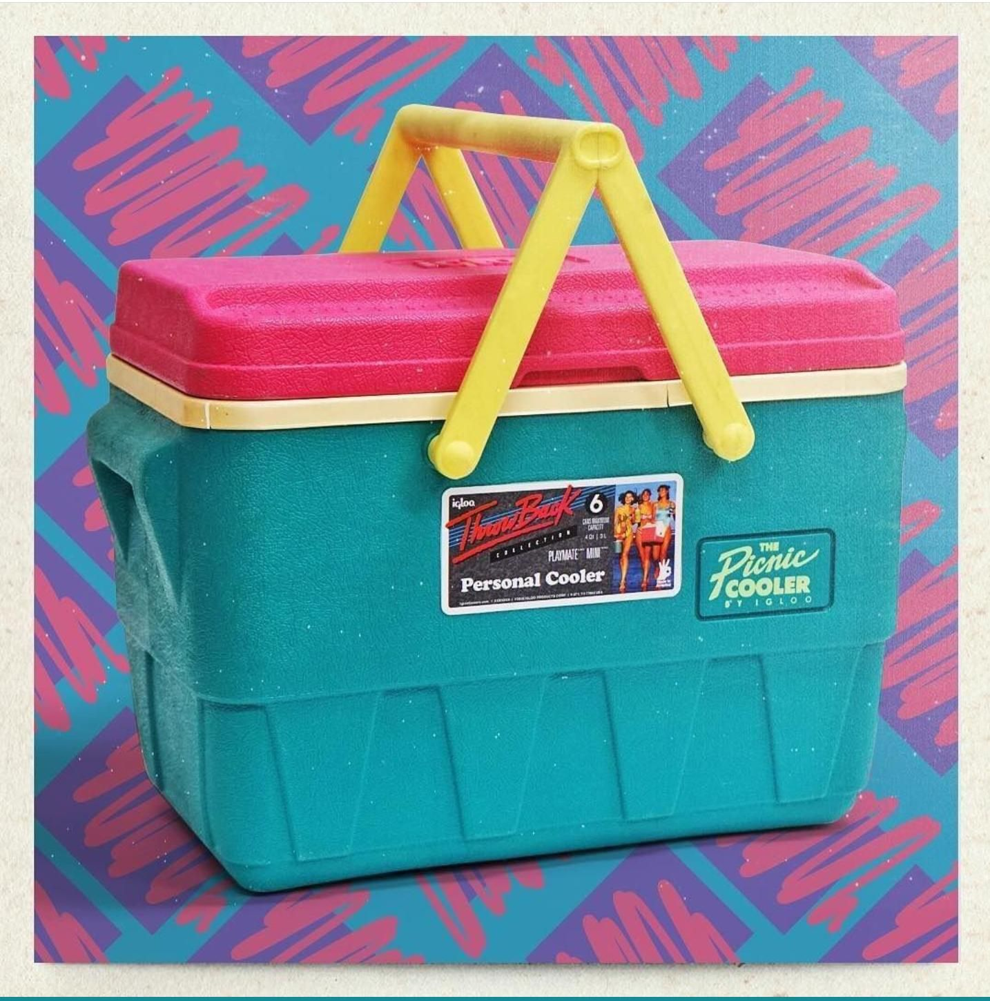 Pink cooler Vintage Little Playmate Personal Cooler by Igloo Neon green