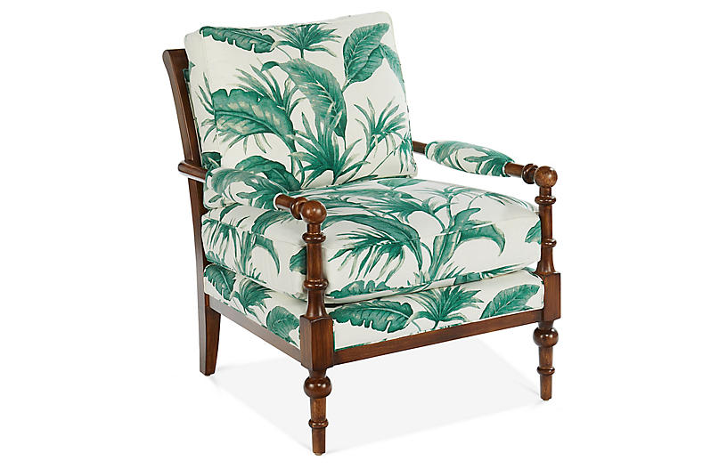 Lily Accent Chair Palm Green Linen Miles Talbott