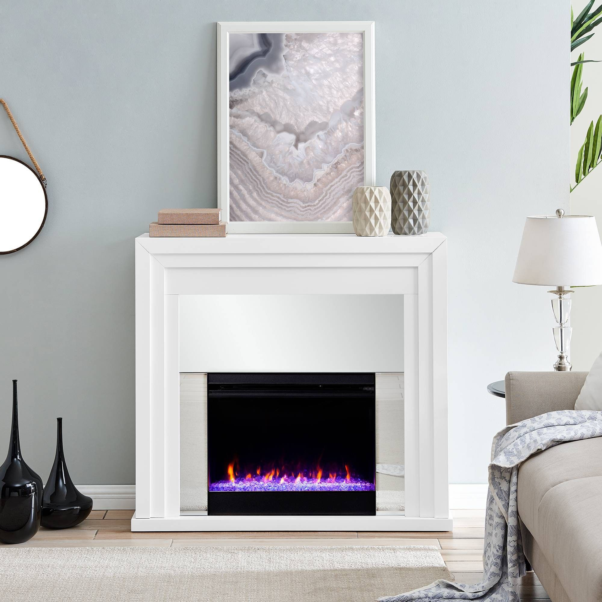 Swanmoor Mirrored Color Changing Fireplace Aiden Lane